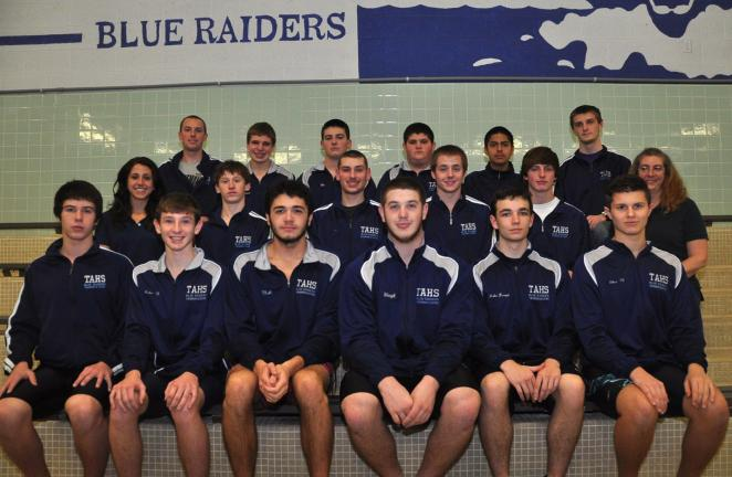 Tamaqua boys swim team members include, front row, from left, Dalton Adams, Gage Whalen, Matthew Stanek, Jacob Wenzel, Jacob Kropp, Ethan Eberts. Middle row, head coach Ashley Stanek, Ryan Alicandri, Anthony Rago, Norman Thomas, Thorn Devlin,…