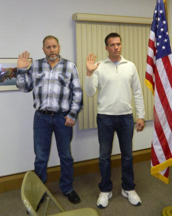 New Supervisors sworn in. Scott Lignor, left and Phil Shedaker, right, are sworn in as supervisors in Penn Forest Township. Lignor and Shedaker replace supervisors Alan Katz, who did not run for re-election and Paul Montemuro, who lost his bid for…