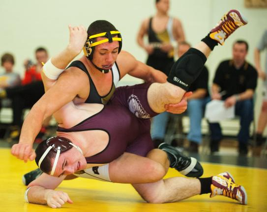 bob ford/times news Panther Valley's Richard Nase (top) takes down Lehighton's Logan Berger in their 195 pound bout. Nase eventually recorded a pin.