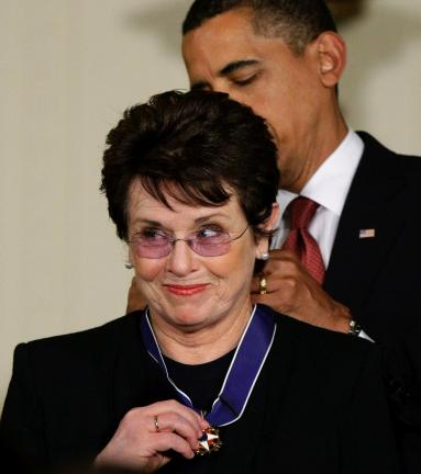 "AP FILE PHOTO In this Aug. 12, 2009 file photo, President Barack Obama presents the 2009 Presidential Medal of Freedom to Billie Jean King, known for winning the famous ""Battle of the Sexes"" tennis match, and championing gender equality issues,…"