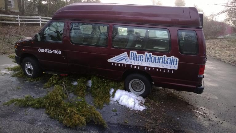 Special to the TIMES NEWS Blue Mountain Health System transport van is shown following single-vehicle crash off Lower Nis Hollow Drive in Mahoning Township. No injuries were reported. Icy roads were blamed for the crash.