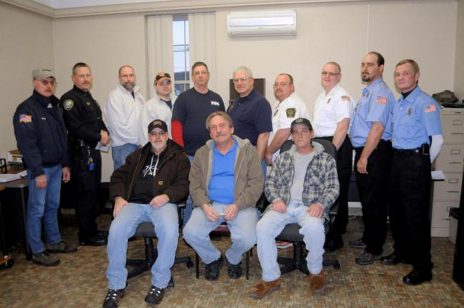 RON GOWER/TIMES NEWS On hand for the distribution of funds from Lehigh Fire Company No. 1, Lehighton, Wednesday, are, seated from left, Lehigh Fire Company No. 1 officers Ernest Heckman, treasurer; Bernie Mieczkowski, president; and Eugene Sillers,…