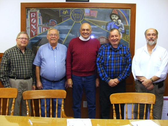 SHARON STANLEY/SPECIAL TO THE TIMES NEWS The Slatington Borough Authority officers chosen for 2014 are, from left, David Frederick, assistant treasurer; William Stein, chairman; Darrell Baus, secretary; Anthony Gnas, treasurer; Scott Schuckert,…