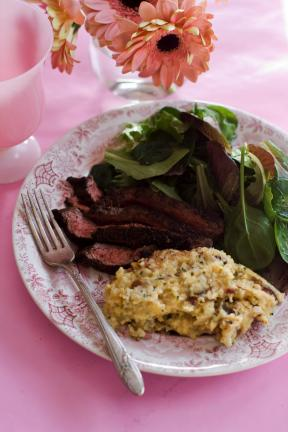 AP Photo/Matthew Mead Cocoa Butter-Date Polenta and Cocoa Coffee Flank Steak