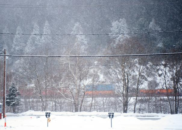 BOB FORD/TIMES NEWS A train travels on the tracks along the Lehigh River this morning.