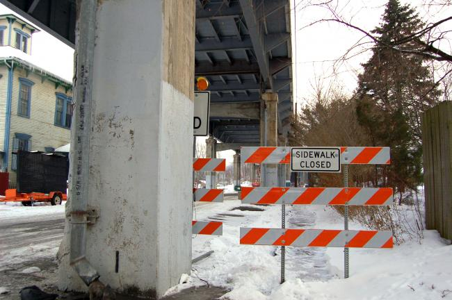 Gail Maholick/TIMES NEWS Sidewalks on Forge Street are closed to pedestrians during the bridge reconstruction project.