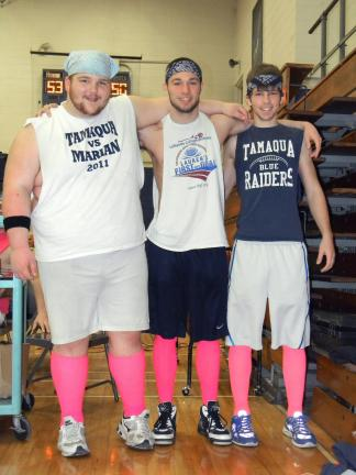 Lisa Price/TIMES NEWS From left, Cody Houser, Dustin Vandermartin and Dylan Baddick showed their support by stepping out in style with pink socks.