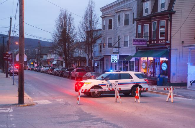 BOB FORD/TIMES NEWS Jim Thorpe police blocked off a section of North Street this morning after a downed power line was discovered.