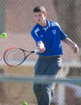 Bob Ford/TIMES NEWS Seth Andress of Palmerton follows through on a forehand shot during tennis action Tuesday.