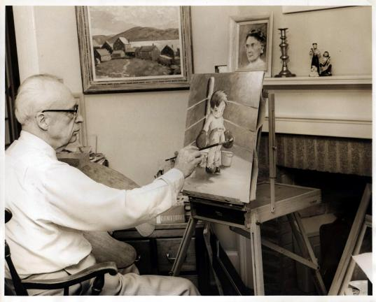 This undated photos shows J.G. Scott painting in his office at Coaldale State General Hospital, where he served as superintendent from 1939 to 1956. COURTESY ROBERT STAUFFER