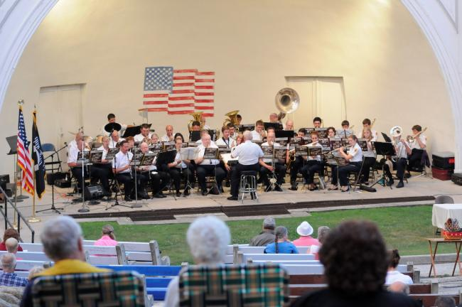 RON GOWER/TIMES NEWS The Lehighton Band, under the direction of Paul Smith, stages its 150th anniversary concert in the Lehighton Park Amphitheater.