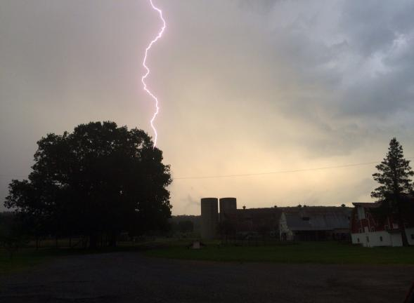 SPECIAL TO THE TIMES NEWS Amanda McLean captured this lightning strike Wednesday night near Miller's Country Store in Franklin  Township.