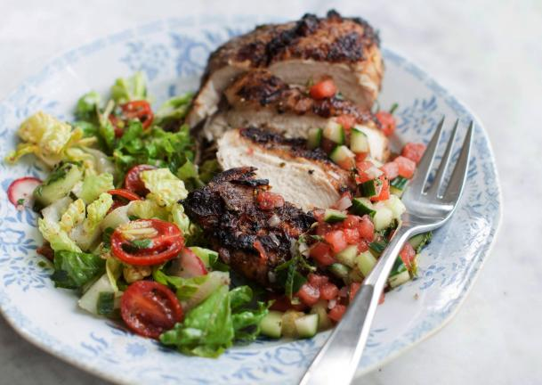AP Photo/Matthew Mead Grilled Jerk Chicken Breast with Watermelon Salsa. Jerk refers both to a unique blend of seasonings and to a method of slow cooking.
