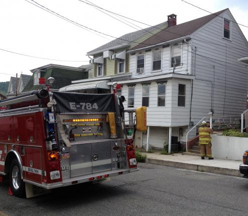 DONALD R. SERFASS/TIMES NEWS Tamaqua firefighters were dispatched to Penn Street on Thursday afternoon for a potential carbon monoxide incident, the second such call in two weeks in the same general neighborhood.