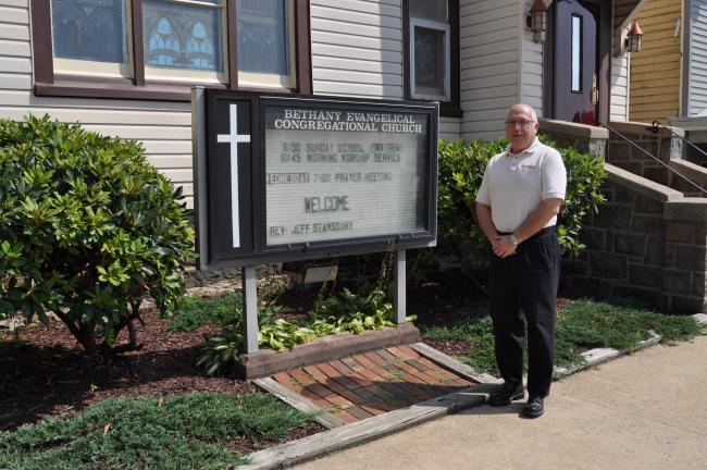 Jordan Reabold/Times News Jeff Stansbury, who has taken his first full-time position as pastor, said members of Bethany ECin Lehighton have graciously welcomed him.