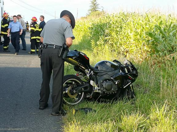LARRY NEFF/SPECIAL TO THE TIMES NEWS Mark Goff, 39, of Jim Thorpe, was operating a 2006 Hondamotorcycle westbound at 6:12 p.m. at a high rate of speed when he failed to negotiate a slight left-hand curve, according to police. He was flown to Lehigh…