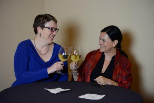 "Theresa Carle-Sanders and Diana Gabaldon enjoy a glass of wine in Scottsdale, Arizona, after signing 1,100 copies of Carle-Sanders' new cookbook. ""Outlander Kitchen: The Official Outlander Companion Cookbook."" Gabaldon, author of the wildly popular …"