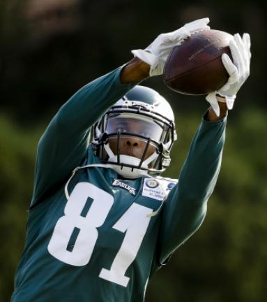 FILE - In this Aug. 4, 2017, file photo, Philadelphia Eagles wide receiver Jordan Matthews catches a ball during an NFL football training camp in Philadelphia. The Buffalo Bills shook up their roster with two separate blockbuster trades Friday, Aug…