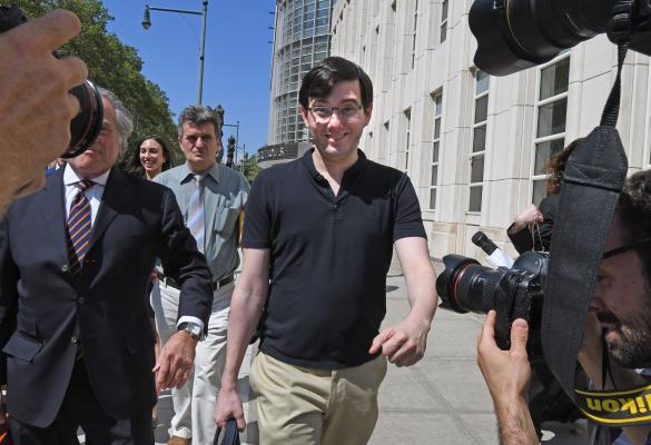 Martin Shkreli, a former hedge fund and pharmaceuticals executive, outside the courthouse after being convicted on three of eight counts in his federal fraud trial, in Brooklyn, Aug. 4, 2017. The conviction, even as a mixed verdict, was a defeat for the divisive Shkreli, who faces as much as 20 years in prison. (Louis Lanzano/The New York Times)